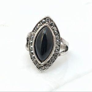 Jewelry - Black Marquise Stone Ring w Hematite Accents  Sz 9